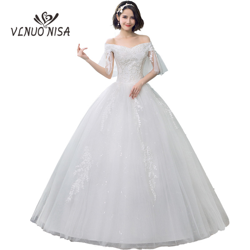 Cheap Lace Wedding Dresses 2020 V-Neck off the shoulder Tulle Bridal wedding Gown Applique Fashion Sexy Gowns Robe De Mariage