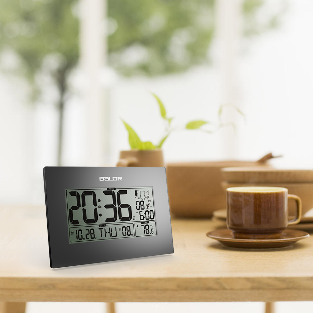 Baldr Stylish Modern Office Tabletop CLock, WWVB Atomic PMCE Time Zone  Clocks, Calendar And Temperature Alarm Desk Clock In Temperature  Instruments From ...