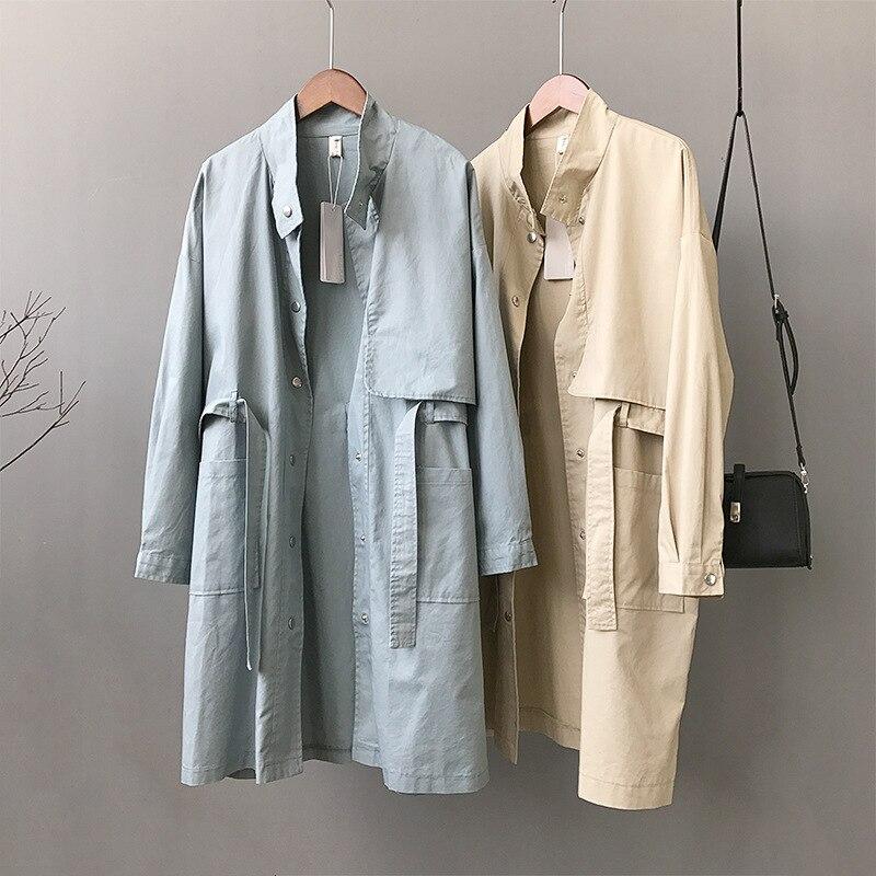 2019 New Spring Model Long Coat Women's Windbreaker Loose Coat Female Outwear   Trench   Coat