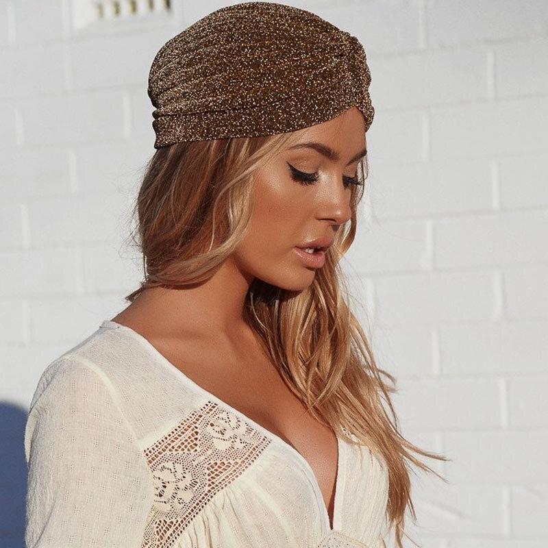 Aproms Women Bling Silver Gold Knot Twist Turban Headbands Cap Autumn  Winter Warm Headwear Casual Streetwear Female Indian Hats-in Women s Hair  Accessories ... fe54ffabe306