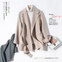2018 осень зима новое 100% шерстяное пальто женское короткое свободное кутюр с чистым кашемиром двухстороннее шерстяная Смеси