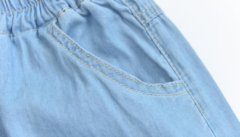 Light Blue Deep Blue Kawaii Bunny Embroidery Jeans Pants Women Summer Casual Straight Pants With Pockets Fashion Ninth Pants12