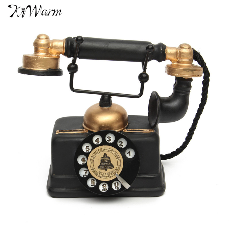 KiWarm Vintage Rotary Telephone Statue Antique Shabby Chic Old Phone  Figurine Decor for Home Desk Decoration - KiWarm Home Ornaments Vintage 1940s Western Black Rotary Handset