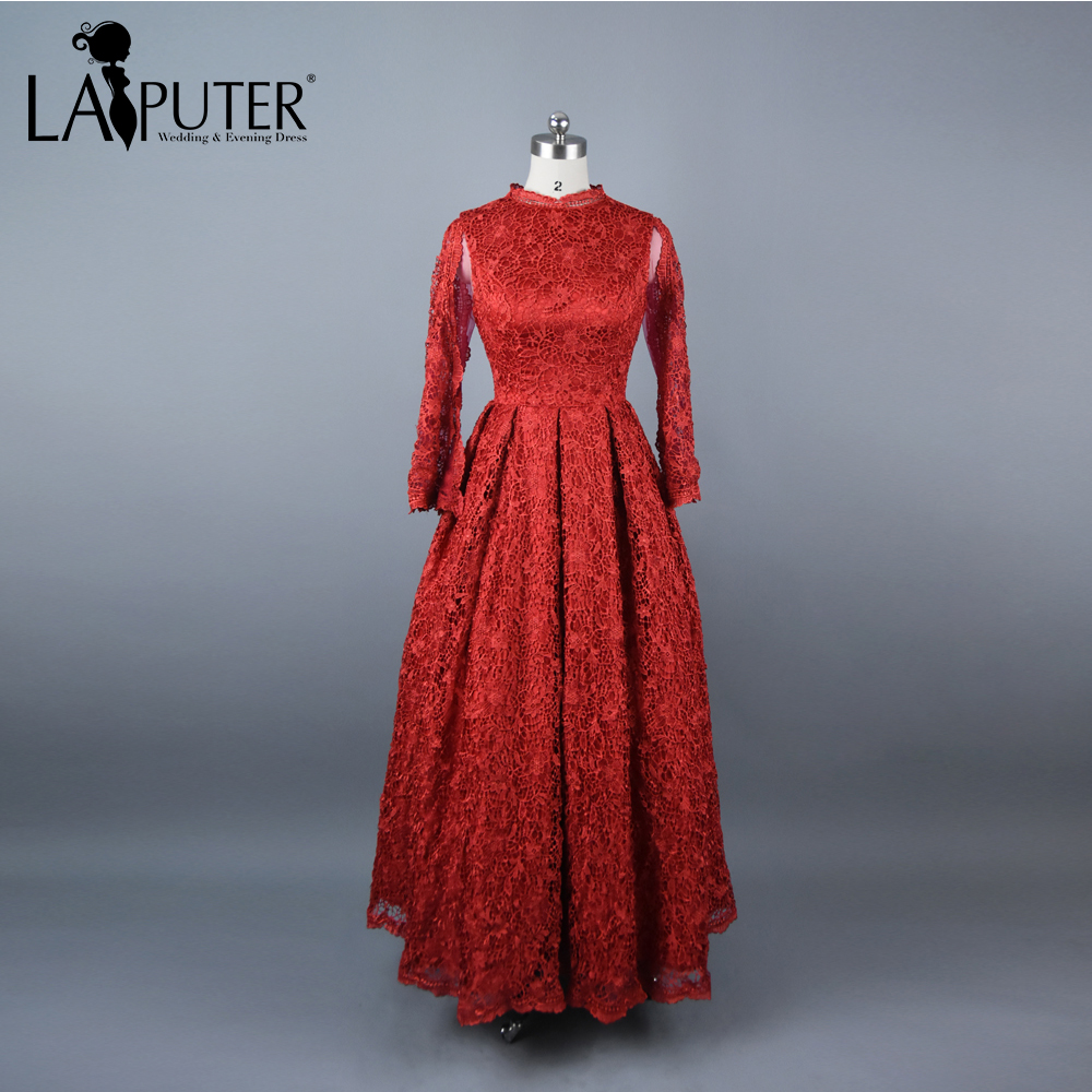 Laiputer Real Photos High Collar Sheer Long Sleeve Lace Evening Dress 2017  A-line Floor Length Long Red Prom Dresses Party Gown d17393550860