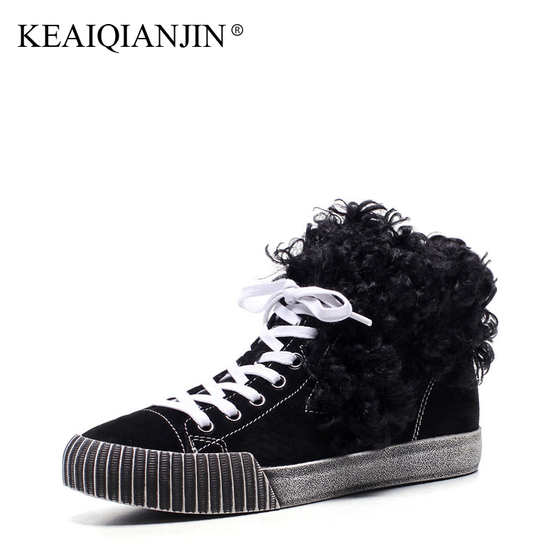 KEAIQIANJIN Woman Platform Shoes Black Brown Winter Genuine Leather Plus Size 34 - 43 Lace Up Snow Boots Fur Ankle Boots 2017 цены онлайн