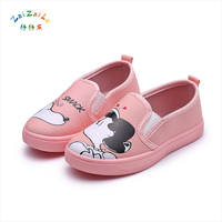 2017 Autumn New Children Canvas Shoes Girl Cartoon Hand Painted Casual Board Shoes Primary School Students