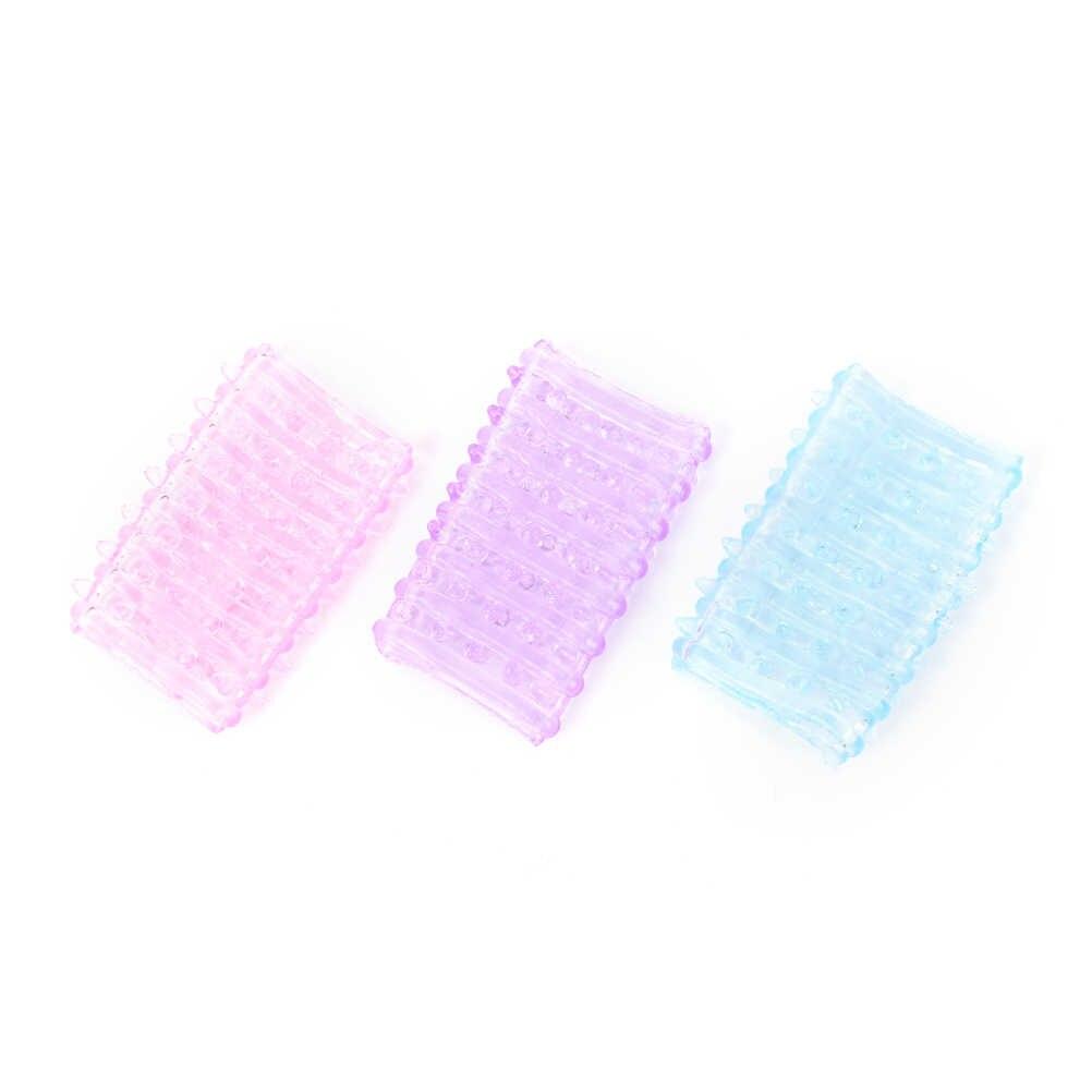 1PCS סיליקון לשימוש חוזר קונדומים זמן עיכוב קריסטל קונדומים זכר פין הארכת שרוולים למבוגרים סקס צעצועי אקראי