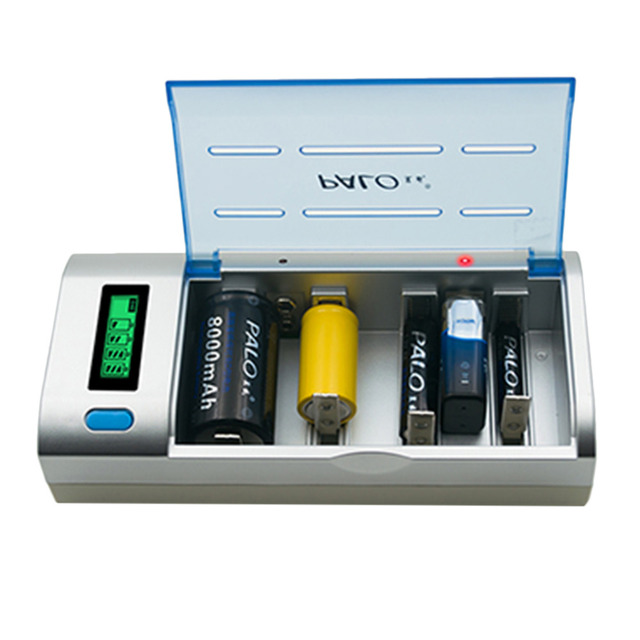 2016 New 4 Slots Universal Smart LCD Charger for AA AAA C D 9V Rechargeable Batteries EU Plug Hot Promotion Free Shipping