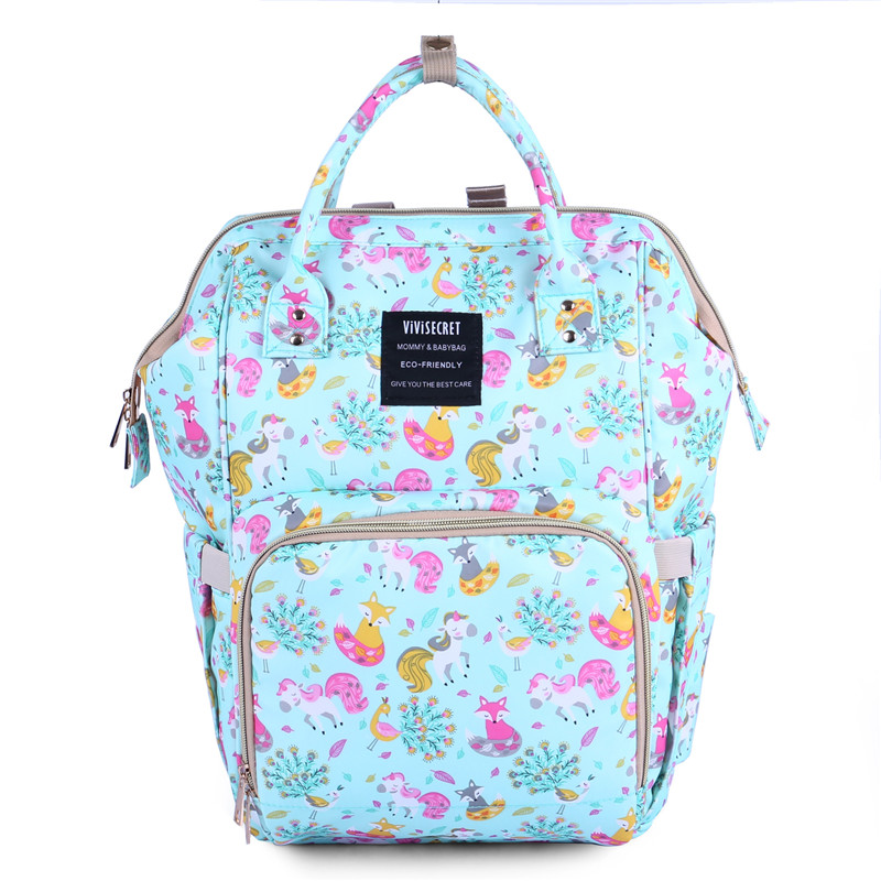 Updated New Fashion Print Bag Bottle Insolution Bags Unicorn Printed Mummy Bag Multi-Function Large Capacity Waterproof Backpack