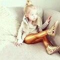 2017 Novo estilo Primavera e Outono 4-8years skinny Ouro Preto Prata vermelho calças de couro criança menina legging bebê meninas meninos calças