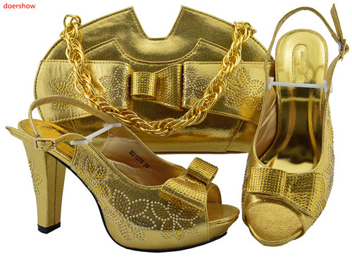 doershow 2019 New come gold Color Italian Shoes with Matching Bags Nigerian Women Party Shoes and Bag Set Shoe and Bag!HLN1-10doershow 2019 New come gold Color Italian Shoes with Matching Bags Nigerian Women Party Shoes and Bag Set Shoe and Bag!HLN1-10