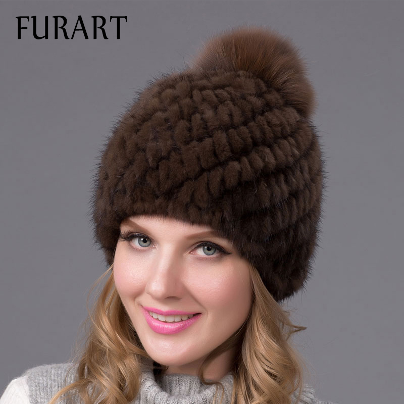 Hot sale real mink fur hat for women winter knitted mink fur beanies cap with fox fur pom poms brand new thick female cap BZ-04  цена и фото