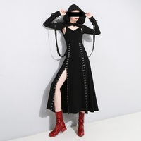 Black Punk Style Sexy V Neck Dresses Women Summer Dress With Metal Hook Hem Split Elegant Female Vintage Club Wear Party Dresses