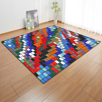 Colorful Block pattern printed Carpets For Living Room Soft Rug Modern Bedroom Antiskid Floor Mat Can come picture custom Carpet