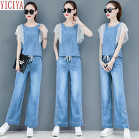 Light Blue Denim Suit Women 2019 Summer Two Piece Outfits Jeans Wide Pants Suits and Top Co ord Set Sleeveless Lace Clothing