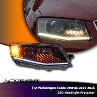 NOVSIGHT 2Pcs Projector Headlight DRL Led Lamps Headilghts Projector For Volkswagen Skoda Octavia 2014 2015