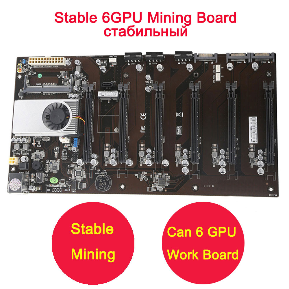 With CPU Stable New D1800 BTC Mining Motherboard 6 PCI-E Support 6 GPU Video Cards Mining Board than TB250 TBC PRO TB85 TB350 все цены