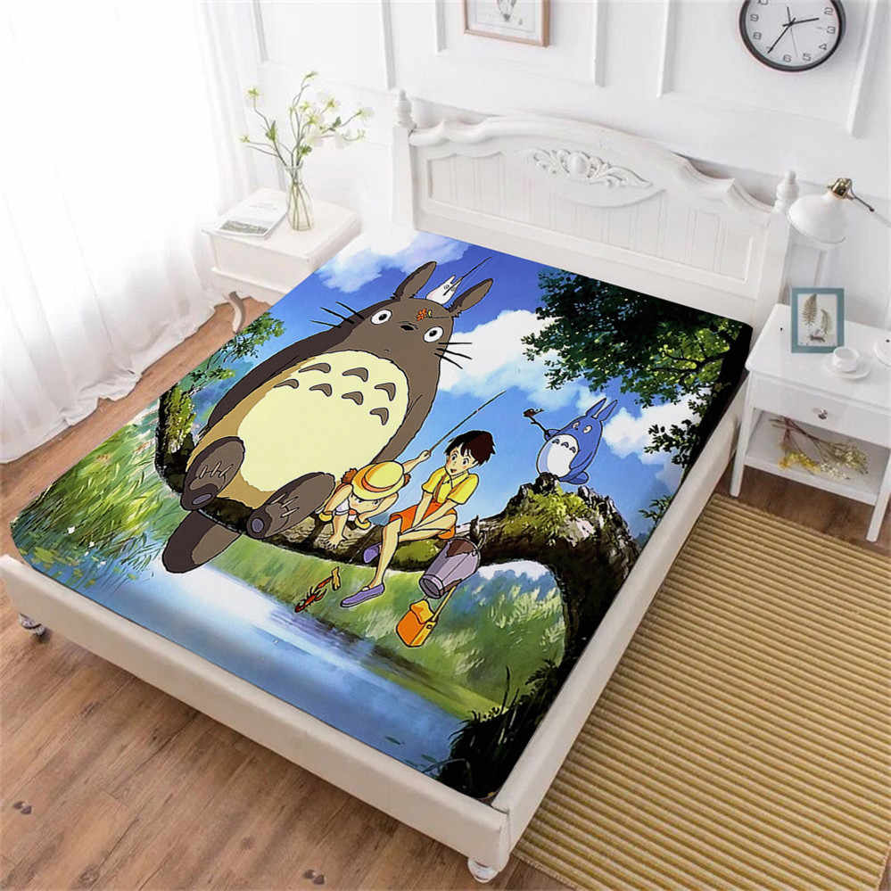 3D Cartoon Bed Sheet Totoro Galaxy Fitted Sheet Kids Natural Scenery Print Bedding Sheets King Queen Mattress Cover Elastic Band
