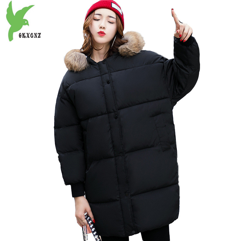 New Winter Women's Down Cotton Coats Fashion Solid Color Hooded Fur Collar Bread Jacket Plus Size Thick Warm Outerwear OKXGNZ860 100% white duck down women coat fashion solid hooded fox fur detachable collar winter coats elegant long down coats