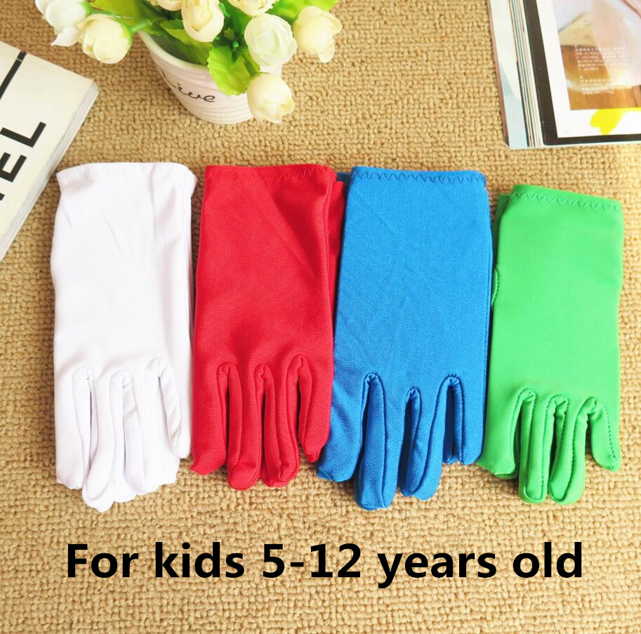 New Arrival Children's Thin Elastic Etiquette Gloves Child Boy And Girls White Performance Gloves Kids Gloves 4 COLORS R1594