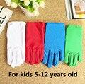 Nuevos niños de la llegada Delgado elástico guantes de etiqueta niño boy and girls blanco rendimiento guantes niños guantes de 4 COLORES