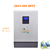 MPPT Solar Inverter 4000W 80A Pure Sine Wave Power Off Grid Solar System 80A Power Battery Charger Inversor Przetwornica