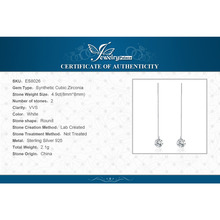 Round Fashion 8mm 5.0ct Linked Earrings Genuine 925 Sterling Silver 2016 new For Women Fine Jewelry