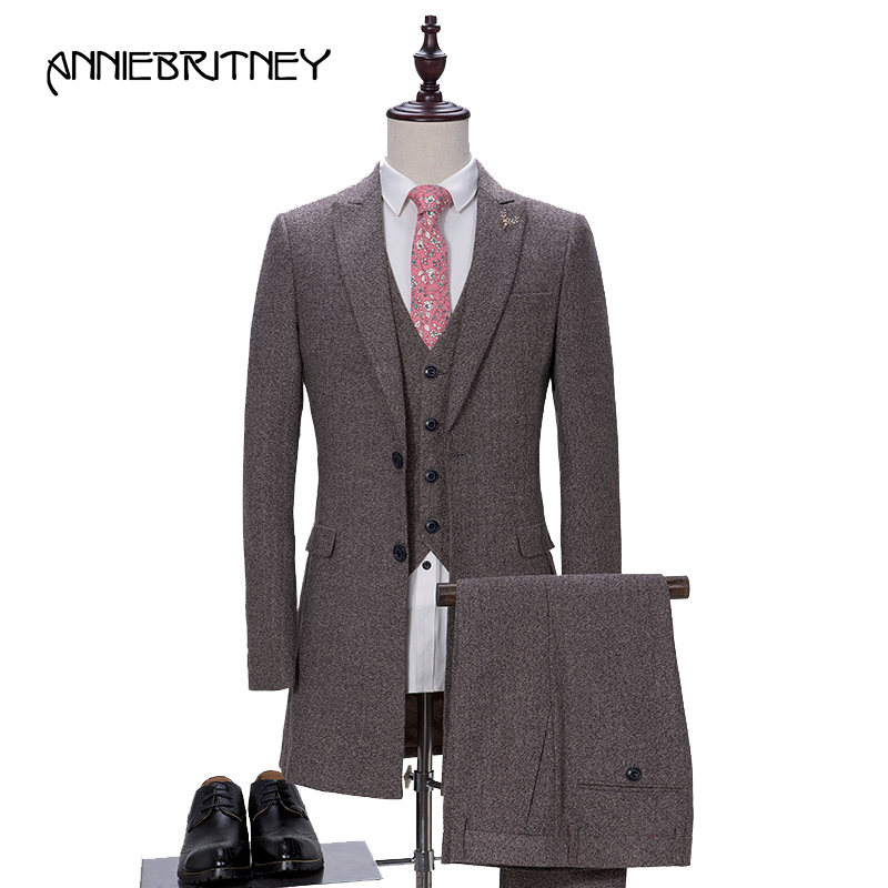 2018 New Brand Grey Tweed Suit Men Groom Tuxedo Style Blazer Slim Fit 3 Piece Prom Wedding Suit Terno Masculino jacket+Pant+Vest
