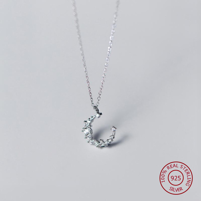925 sterling silver necklace for women moon pendants original design 925 sterling silver necklace for women moon pendants original design crystal simple long chain fashion jewelery aloadofball Choice Image