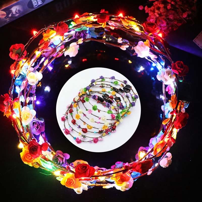 2 шт./лот модные Eligent Невеста Гирлянда Для женщин девочек светодиодный мигает блестящий; с подсветкой головной убор повязки украшения для свадебной вечеринки питания