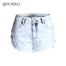 QIN AJILI Femme Lady Plus Denim Hot Jeans Short High Waist Zipper Hole Ripped Jean Straight Sexy Club Blue Feminino Shorts