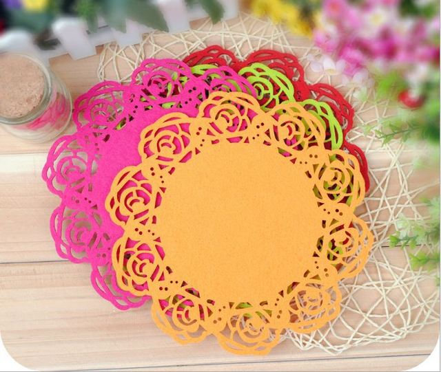 10PCS/lot Large rose modelling cup mat Felt cup mat insulating pad more color + Free shipping!!!