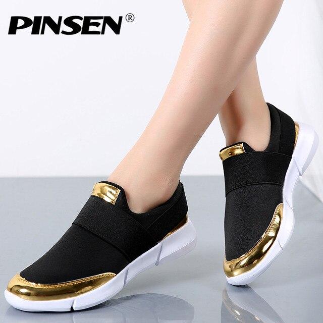 0ef64bcbb PINSEN Marca Mulheres sapatos Casuais Verão Respirável Flat Shoes  Deslizamento em Sapatos Casuais sapatos Novos Zapatillas