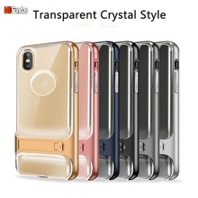 MDFUNDAS Clear TPU+PC Cellphone Fundas Shell For Apple iPhone X 10 6 Colors Optional Fitted Cases With Stand For iPhone X