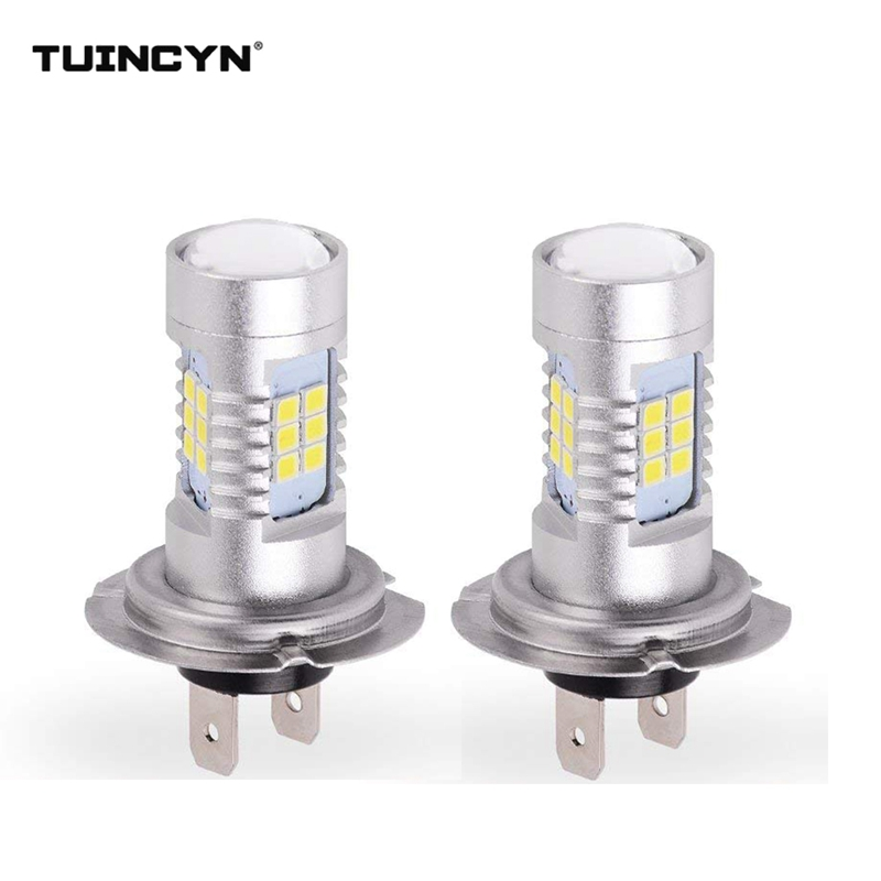 TUINCYN 2Pcs H7 LED Lamp Super Bright Car Fog Lights 6000K White Orange Day Running Light Auto Led H7 2835 Chips 21 SMD