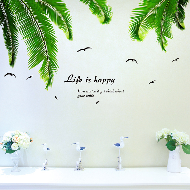 SHIJUEHEZI] Palm Leaves Wall Stickers Quotes Vinyl DIY Tree Leaves ...