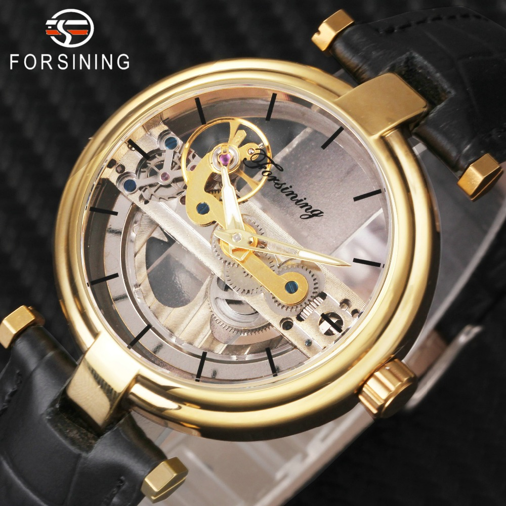 Top Fashion Gold Watch Men FORSINING Brand Golden Bridge Design Leather Strap Transparent Dial Mechanical Wrist Watch for Men цена