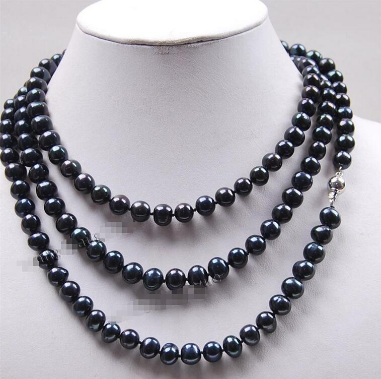 Hot sale new Style >>>>>Long 50 7 8mm Black Akoya Cultured Pearl Jewelry Necklace