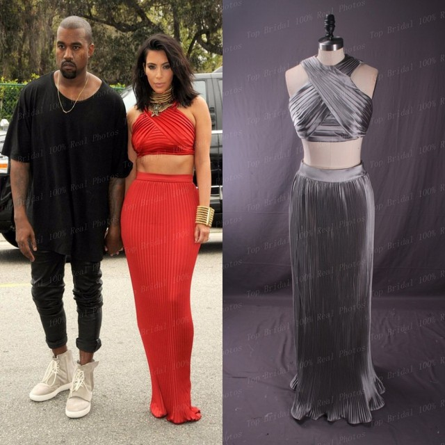 Kim Kardashian Dress Red Carpet Dresses 100% Real Pictures Sexy Silver Red Two Piece Prom Dresses Pleated vestidos de formatura