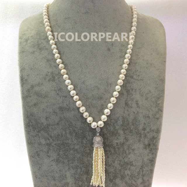 The Most Popular Jewelry For Women! 9-10MM Nearround White Freshwaterr Pearl Sweater Necklace.