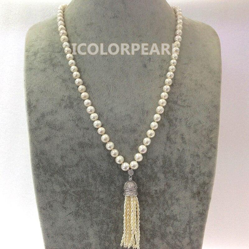 WEICOLOR les bijoux les plus populaires pour les femmes! 9-10 MM collier de chandail de perle blanche de Nearround waterr.