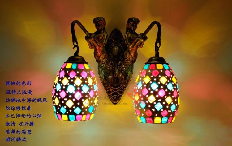 цены на Tiffany Color glass wall lights mermaid retro pastoral minimalist living room bedroom hotel Aisle 2 head wall light lighting ZAG в интернет-магазинах