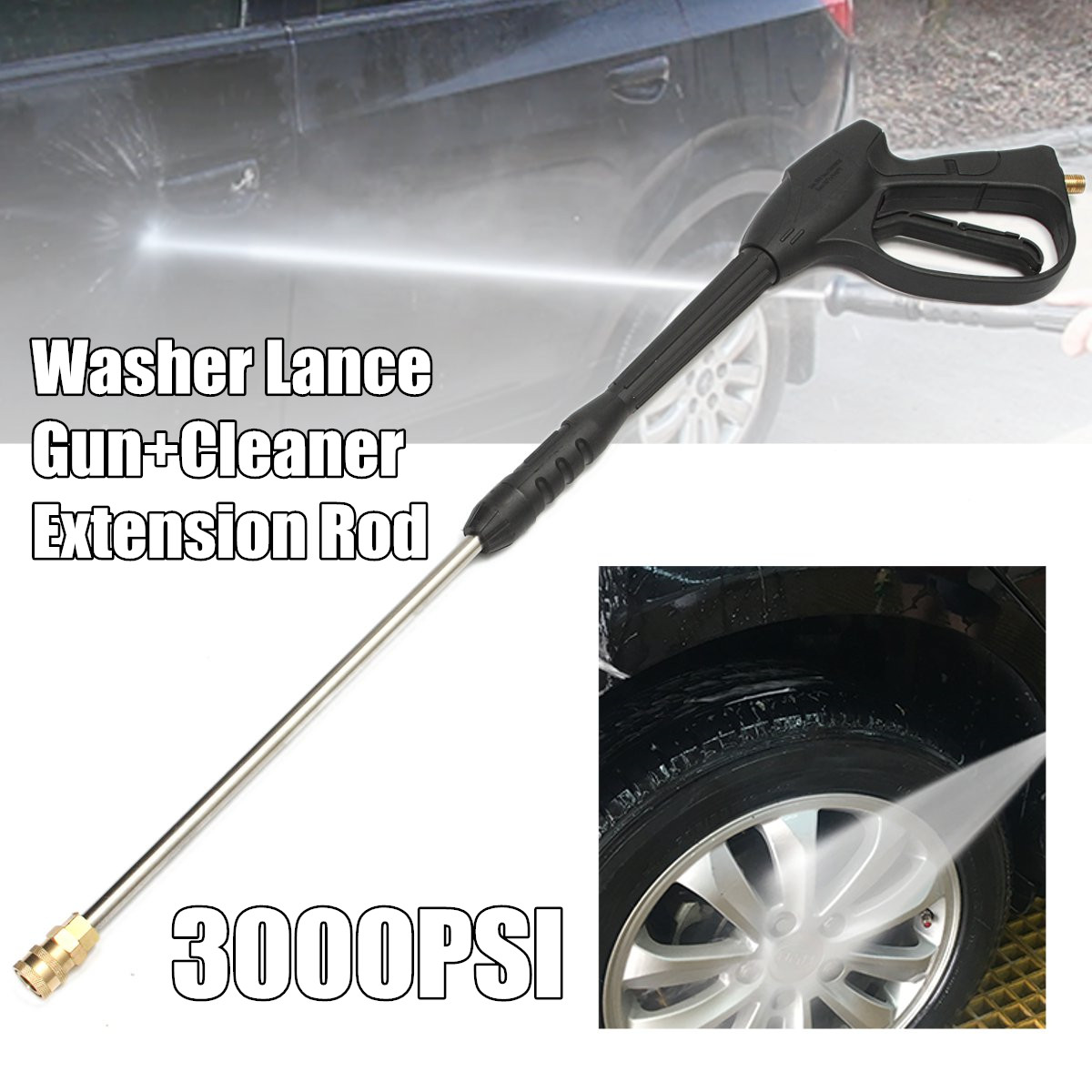 Car Washer Water Spray lance and Jet Lance Nozzle for High Pressure Washers Trigger Heavy Duty Pressure Cleaner