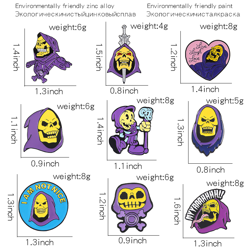 9Styles Skeletor purple hood Enamel Pin Masters of the Universe Badge Brooch Bag Clothes Lapel pin Classic Cartoon Jewelry 2