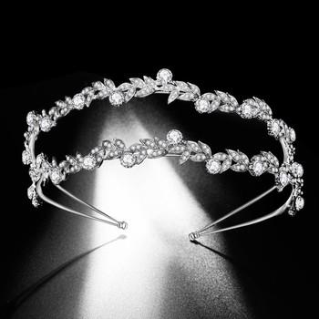 Luksusowy podwójny Rhinestone liść tiary ślubne barokowy diadem kryształowy opaski panny młodej ślub biżuteria do włosów akcesoria do sukni tanie i dobre opinie George Black Ze stopu cynku moda KRYSZTAŁ Tiaras Kobiety TRENDY HG001 PLANT Baroque Luxury Crystal AB Bridal Crown Tiaras