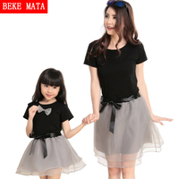 2016 Summer New Mother Daughter Matching Clothes Net Yarn Women Girl Dresses Fashion Family Look Clothing