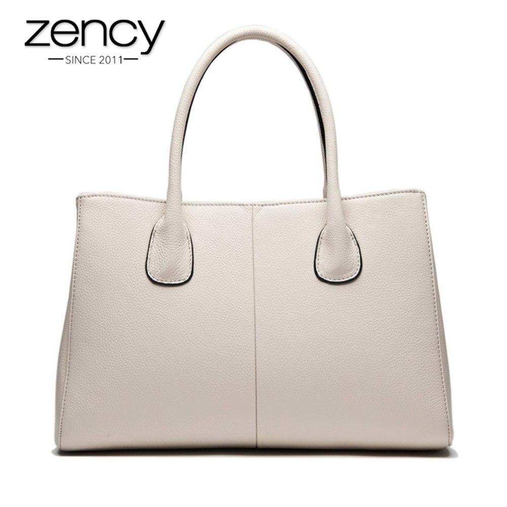 4a9490993e Nueva llegada 7 colores 100% cuero suave genuino bolso de las mujeres de  moda de alta calidad mujer Casual Tote señoras de la oficina del negocio
