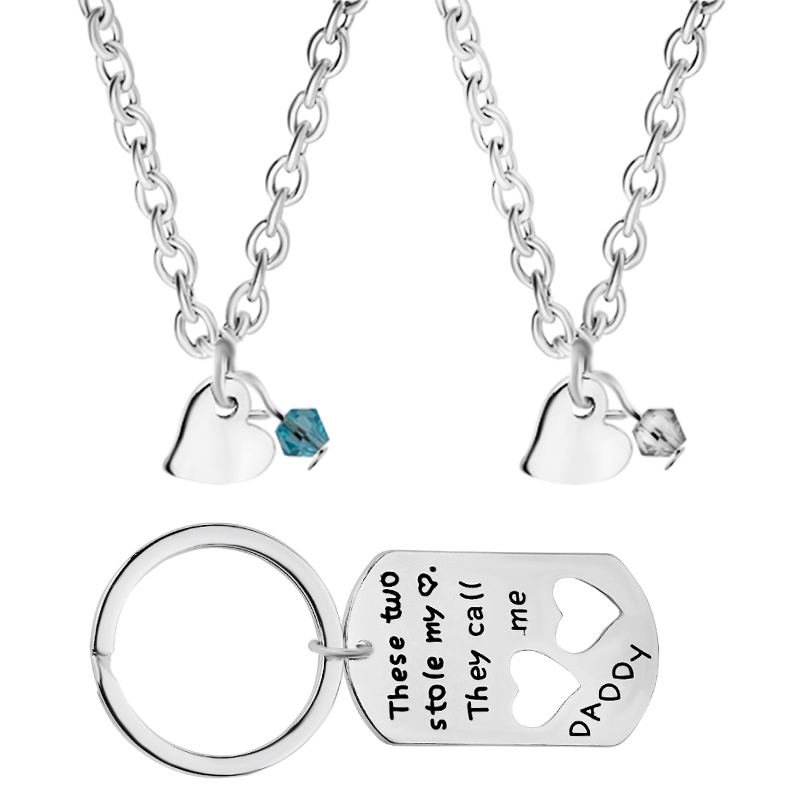 These Two Stole My Heart They Call Me Daddy dad and 2 childrens 3pcs/set childrens necklaces daddys keychain Fathers Day gift