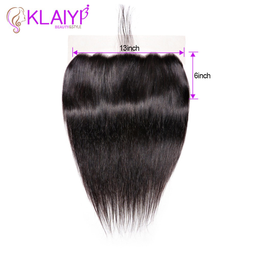 Klaiyi Hair Peruvian Straight Hair Lace Frontal Closure 13x6 Swiss Lace Ear To Ear Remy Human Hair Frontal With Baby Hair