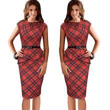 Summer Lady Vintage Tartan Red New Fitted Dress O Neck Sleeveless Belt Peplum Casual Zipper Pencil